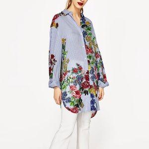 Zara Floral Stripe Tunic